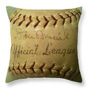 Stan Musial Autograph Baseball Throw Pillow
