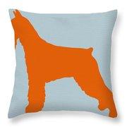 Standard Schnauzer Orange Throw Pillow by Naxart Studio