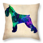 Standard Schnauzer Poster Throw Pillow by Naxart Studio