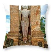 Standing Buddha At Wat Mahathat In 13th Century Sukhothai Historical Park-thailand Throw Pillow