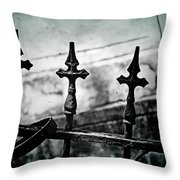 Standing Guard By Loved Ones - Bw Texture Throw Pillow