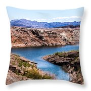 Standing In A Ravine At Lake Mead Throw Pillow