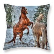 Standing In The Snow Throw Pillow by Skye Ryan-Evans