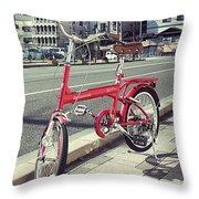 Standing Red Bike Throw Pillow