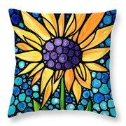 Standing Tall - Sunflower Art By Sharon Cummings Throw Pillow