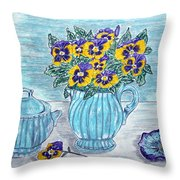 Stangl Pottery And Pansies Throw Pillow