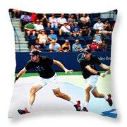 Stanislas Wawrinka In Action Throw Pillow by Nishanth Gopinathan