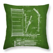 Stanton Bass Drum Patent Drawing From 1904 - Green Throw Pillow