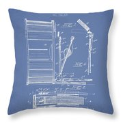 Stanton Bass Drum Patent Drawing From 1904 - Light Blue Throw Pillow