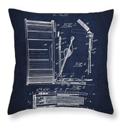 Stanton Bass Drum Patent Drawing From 1904 - Navy Blue Throw Pillow