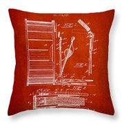 Stanton Bass Drum Patent Drawing From 1904 - Red Throw Pillow