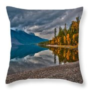Stanton Mountain With Mount Vaught And Mcpartland Reflected In Lake Mcdonald Throw Pillow