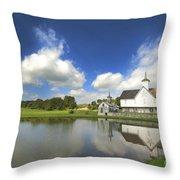 Star Barn And Pond Throw Pillow