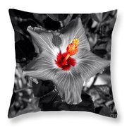 Star Bright Hibiscus Selective Coloring Digital Art Throw Pillow