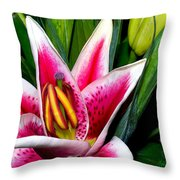 Star Gazer Lily Throw Pillow