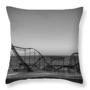 Star Jet Roller Coaster Bw Throw Pillow