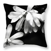 Star Magnolia In Black And White Throw Pillow