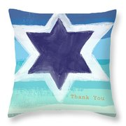 Star Of David In Blue - Thank You Card Throw Pillow by Linda Woods