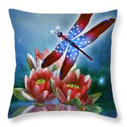 Star Spangled Dragonfly Throw Pillow