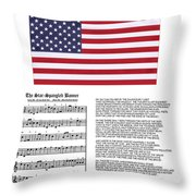Star Splangled Banner Music  Lyrics And Flag Throw Pillow by Anne Norskog