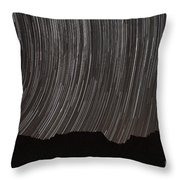 Star Trails Above A Valley Throw Pillow by Amin Jamshidi