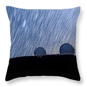 Star Trails Above Keck Throw Pillow