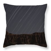 Star Trails Above Martians Valley Throw Pillow by Amin Jamshidi