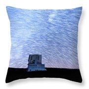 Star Trails Above Subaru Telescope Throw Pillow