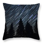 Star Trails And Pine Trees Throw Pillow