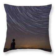 Star Trails Night Sky Landscape Vermont Lake Champlain Throw Pillow