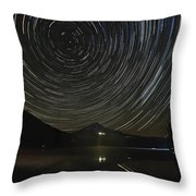 Star Trails Over Mount Hood At Trillium Lake Throw Pillow