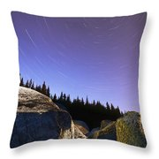 Star Trails Over Rocks In Saguenay-st Throw Pillow