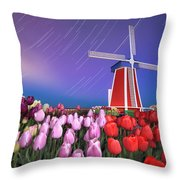 Star Trails Windmill And Tulips Throw Pillow