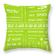 Star Trek Remembered In Green Throw Pillow by Georgia Fowler