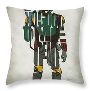 Star Wars Inspired Boba Fett Typography Artwork Throw Pillow