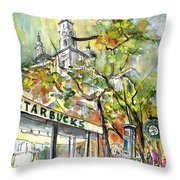 Starbucks Cafe In Budapest Throw Pillow