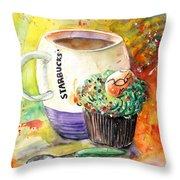 Starbucks Mug And Easter Cupcake Throw Pillow