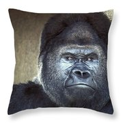 Stare-down - Gorilla Style Throw Pillow
