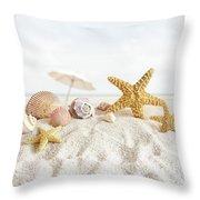 Starfish And Seashells  At The Beach Throw Pillow by Sandra Cunningham