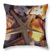 Starfish And Sun Rays Throw Pillow