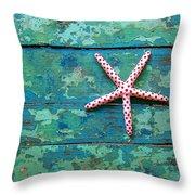 Seashore Peeling Paint - Starfish And Turquoise Throw Pillow