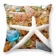 Starfish Art Prints Shells Agates Coastal Beach Throw Pillow by Baslee Troutman