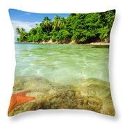 Starfish In Clear Water Throw Pillow