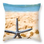 Starfish On Algarve Beach Portugal Throw Pillow