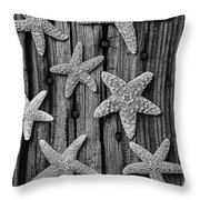 Starfish On Old Wood Black And White Throw Pillow