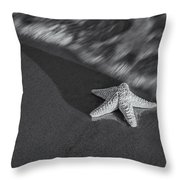 Starfish On The Beach Bw Throw Pillow