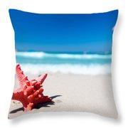 Starfish On Tropical Beach Throw Pillow
