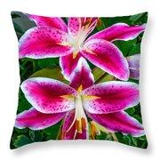 Stargazer Oriental Lilies Throw Pillow