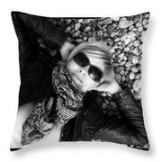 Stargazing At Noon Bw Throw Pillow