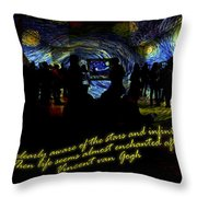 Staring At The Starry Night In The Moma Throw Pillow